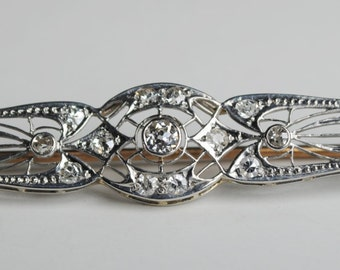 Art Nouveau Diamond & Platinum Bar Pin