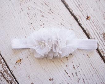 chiffon headband- baby shabby headband- flower headband - white flower headband- baby headband- rhinestone headband- girls headband -newborn