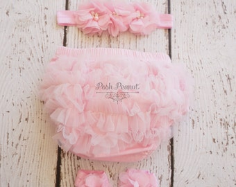 Diaper cover and headband set- Girls First Birthday- Smash the Cake outfit- Diaper cover set- Bloomer set- Light pink diaper cover- Baby
