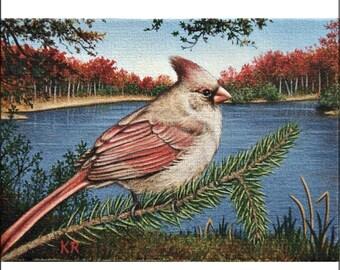 bird lake landscape cardinal art print limited ed signed Beauty of the Lake Karen Romine KR Autumn scene