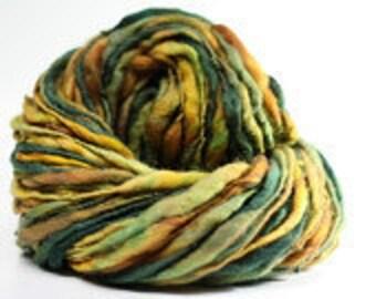 Thick and Thin Merino Wool Yarn Handspun Slub  tts(tm) Hand dyed Self-striping xLR 03a