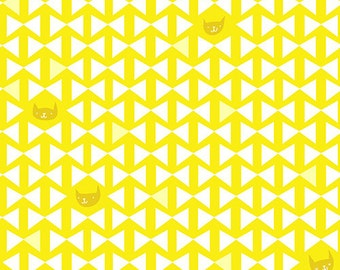 Half Yard Catnap Finn in Meyer Lemon, Lizzy House for Andover Fabrics, 100% Cotton Fabric, A 7342 GY