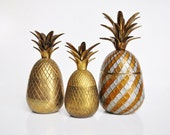 Vintage Brass Two-Tone Pineapple Container or Candle Holder