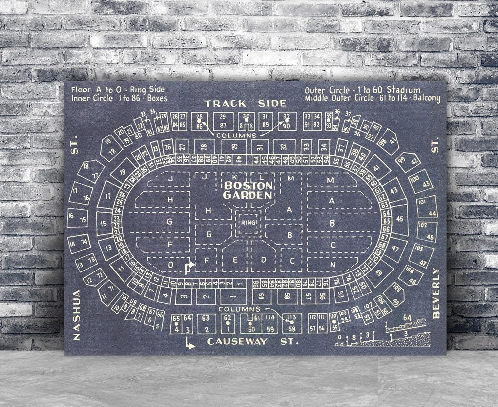 Vintage Boston Garden Blueprint on Canvas Sports by ClavinInc