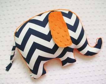 Chevron Elephant Pillow, nursery decor, navy and orange, boy nursery