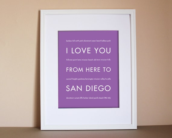 san diego art i love you from here to san by hopskipjumppaper. Black Bedroom Furniture Sets. Home Design Ideas