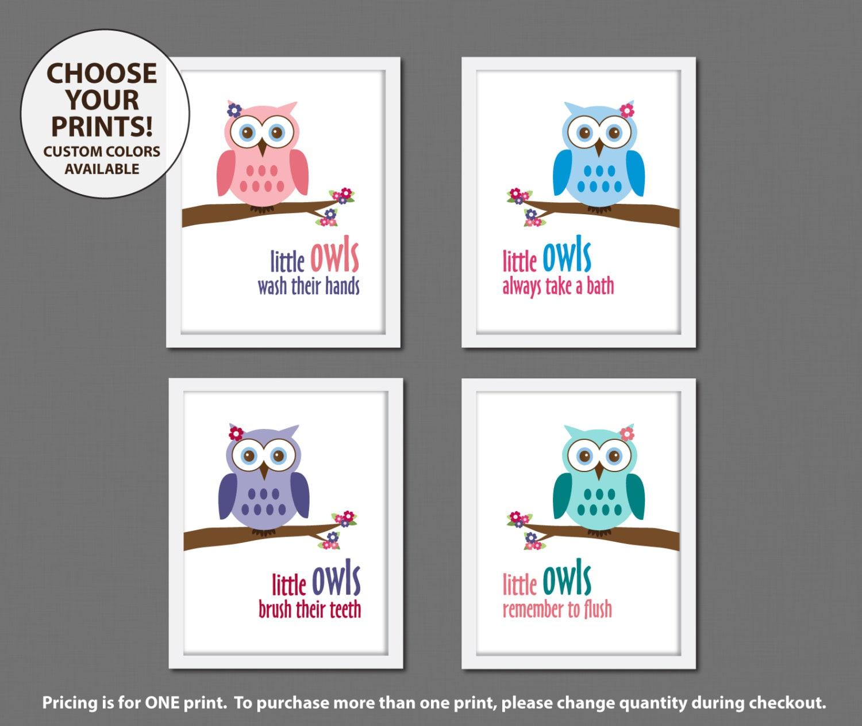 Bathroom Decor Owls: One Girl Owl Bathroom Art Print Decor Choose By