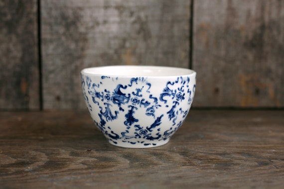 For latte - latte bowl - white and blue