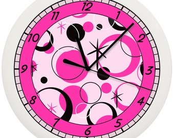 Black and Pink Dots Wall Clock Girls Room Bedroom