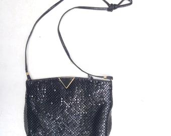 Vintage black chain metal purse / evening bag