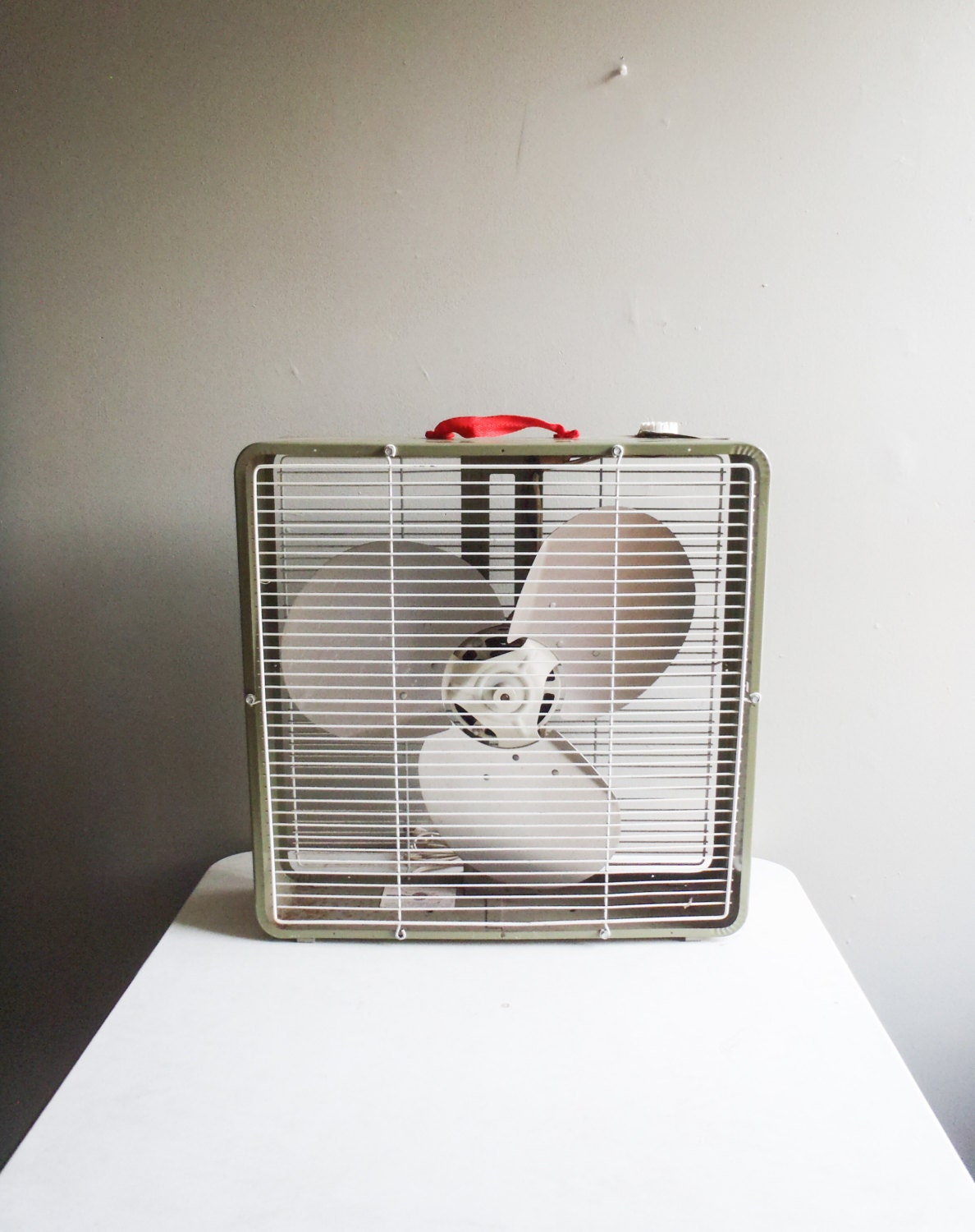 Industrial Box Fan : Vintage industrial box fan olive green with red canvas strap