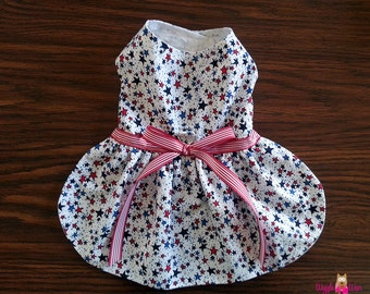 Dog Harness Dress, Red, White and Blue All American Small Dog Dress