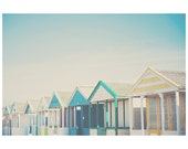 beach photograph, beach hut photograph, blue, triangle, beach hut, architecture photography, yellow, beach decor, rainbow, seaside