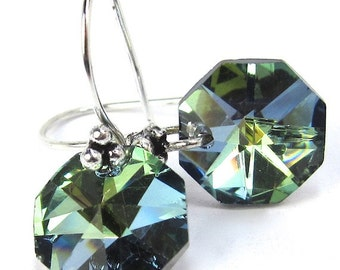 Green Sahara Sparkly Vintage Strass Octagon Swarovski Crystal Earrings Copper or German Silver Earwires You Choose