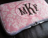 Best Seller Monogrammed Baby Pink Damask Personalized Baby Wipe Case
