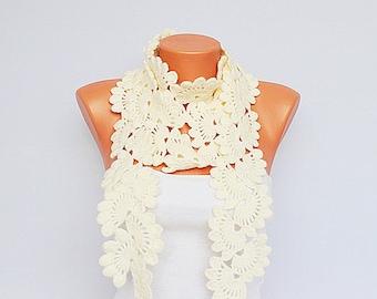 Crochet scarf  - ivory  long crochet scarf -wool blend yarn