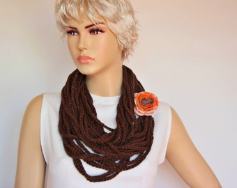 Brown chain lariat infinity  necklace scarf , crochet lariat scarf ,crochet lariat chain scarf with REMOVABLE FLOWER pin