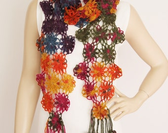 Crochet scarf , long scarf ,woman scarf,gift,colorful scarf