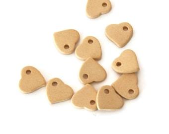 Ivory Greek Ceramic Heart Beads, Ivory Ceramic Hearts, Ceramic Heart Beads, Ivory Heart Ceramic Pendant 3pcs C 10 058
