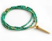 mint green opal buffalo horn necklace