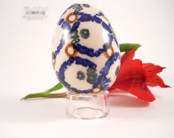 Cobalt Blue and White Egg pottery handmade and painted 70's cranberry stand