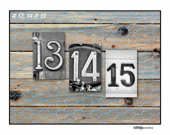 NUMBERS DATES 13-15,  4x6 photo numbers, prints only, date photography