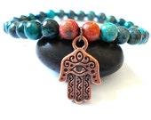 Hamsa Hand Bracelet, Green Howlite, Copper Hamsa Hand, Beaded Yoga Bracelet
