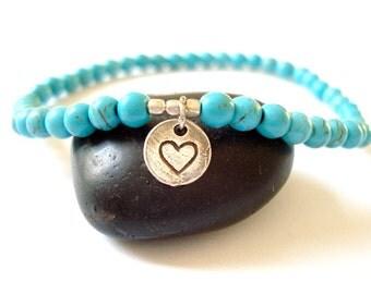 Turquoise Heart Bracelet, Silver Heart Charm, Turquoise Beaded Yoga Bracelet