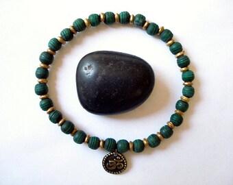Olivewood Mala Bracelet, Green Olivewood Mala Beads, Brass Om Charm, Wrist Mala