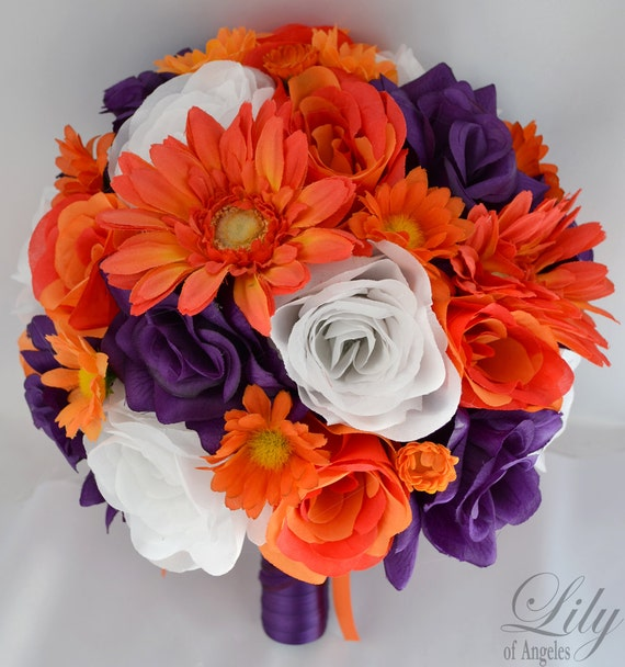"Wedding Bridal Bouquet Silk Flowers bouquets Decoration 17 pieces Package PURPLE ORANGE ""Lily Of Angeles"""