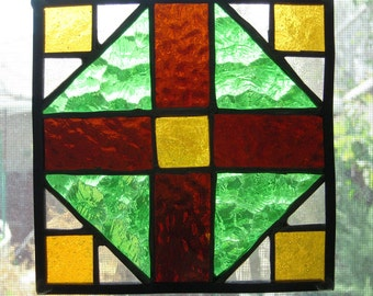 Suncatcher, Quilt Block, Window Hanging, Stained Glass, Leaded Glass Art, Folk Art, Handmade, Glass,Copper Foiled