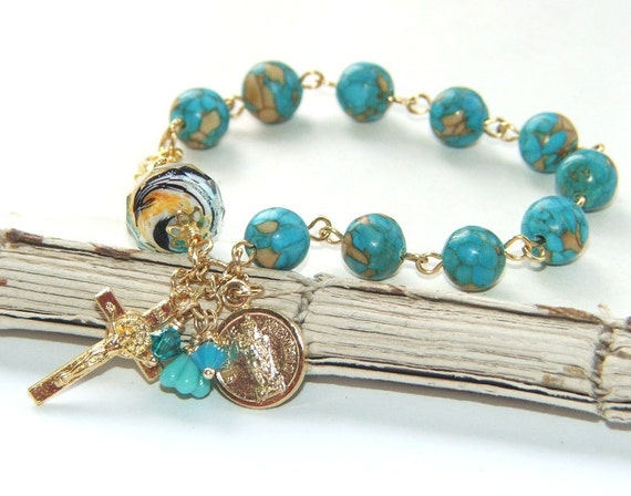 catholic saints bracelet catholic saints bracelet turquoise mosaic gold rosary 5515