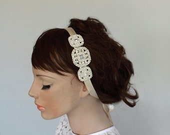 Ivory Satin Ribbon Bridal Headband, Rhinestone Accented  Weddings Head Piece. Handmade