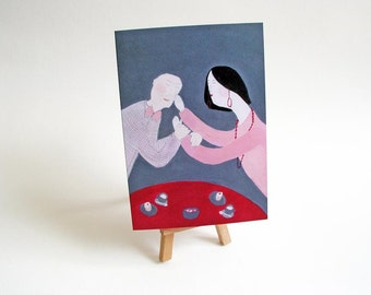 Love card art card illustrated card couple in love pink dark blue red A6 size funny greeting card love for friend caffe cupcakes sweets