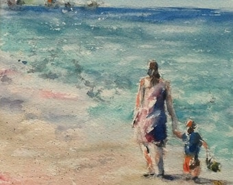 seascape, beach, sand, ocean, waves, turquoise, pink , figurative, mother and child.Quality Time. original watercolor pain