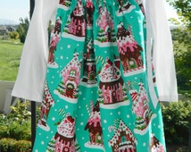 Christmas holiday girl, toddler, baby, red, turquoise, pink gingerbread pillowcase dress 6m 12m 18m 2T 3T 4 5 6 7 8 10 12 Christmas picutres