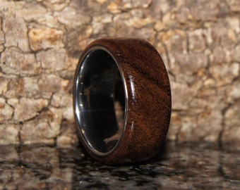 Rosewood & tungsten ring - size 8