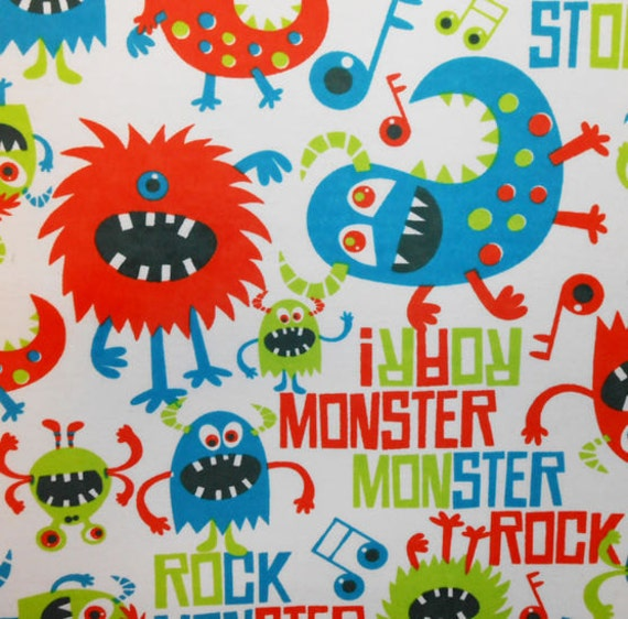 Monster fabric boy fabric flannel fabric nursery fabric for Boy nursery fabric