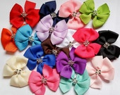 Mini Bling Pinwheel Bows -- You Choose Four Hair Bows -- Red, Yellow, Orange, Green, Blue, Purple, Pink