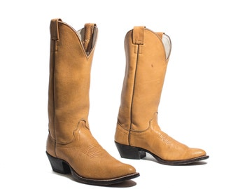 9 B | Women's Tall Cowboy Boots in Camel Brown Leather by Olathe Country Western Boots