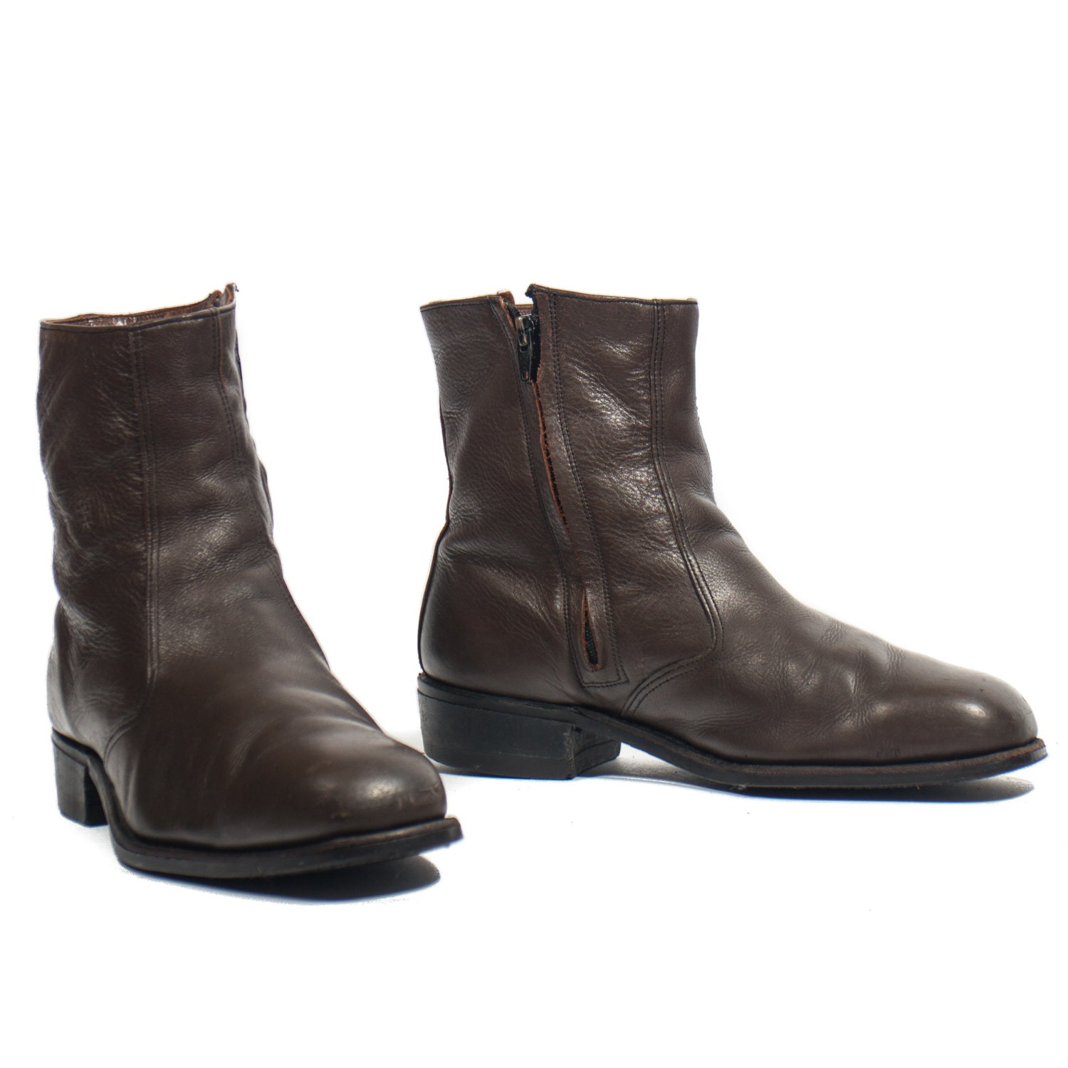 s zipper ankle boots chocolate brown leather steel toe