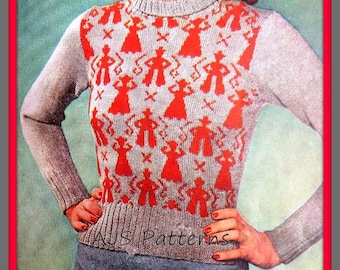 PDF Knitting Pattern For a Country & Western Cowboy and Cowgirl Motif Jumper - Instant Download