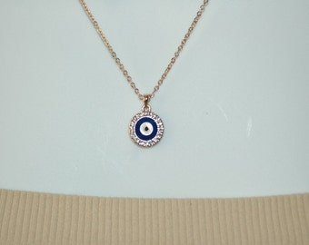Evil Eye Necklace Charm, Blue Enamel Evil Eye Necklace, Crystal Evil Eye, Gift for her, Good Luck charm