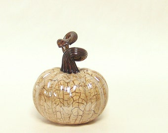 Hand Blown Glass Pumpkin / Art Glass Sculpture / Autumn Home Decor Fall Thanksgiving Decorations Winter White Dark Brown
