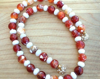 Carnelian Necklace with White Jade, Red Carnelian Necklace, Carnelian Beaded Necklace, Orange Carnelian, Statement Agate Necklace