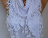White Scarf  Oversize Scarf  Pashmina  Scarf  - Cowl Scarf - Women Scarves - Bridesmaids Gifts Spring Scarf  Women Fashion Accessories