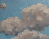 """Clouds Original  Oil Painting Modern Imressionist Dreamy Ethereal Surreal Abstract Textured Sky Painting 6x6"""" Canvas Jennifer Boswell"""