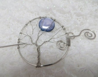 Silver Tree of Life Hair Pin, Silver Tree of Life Shawl Pin, Silver Wire Wrapped Tree With  Purple Shell Moon