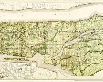 New York City Map 1893 Map of New York 12x36 - Manhattan print Poster Vintage