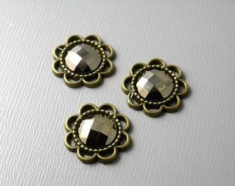 50% off - CHC-AB-FLW-15MM - Acrylic Pyrite Cabochon Antique Bronze Flower Setting - 4 pcs